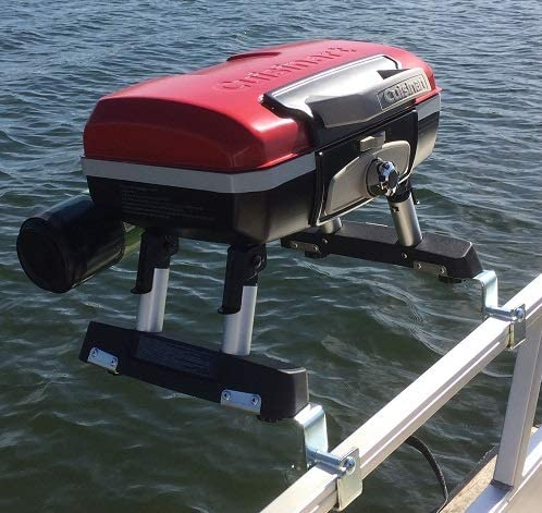 Cuisinart Grill Modified for Pontoon Boat with Arnall's Stainless Grill Bracket - 51MRN9LKiVL. AC