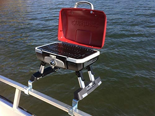 Cuisinart Grill Modified for Pontoon Boat with Arnall's Stainless Grill Bracket - 51lPTF7bm8L. AC